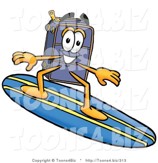 Illustration of a Cartoon Suitcase Mascot Surfing on a Blue and Yellow Surfboard
