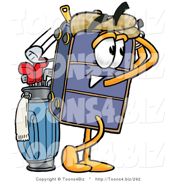 Illustration of a Cartoon Suitcase Mascot Swinging His Golf Club While Golfing