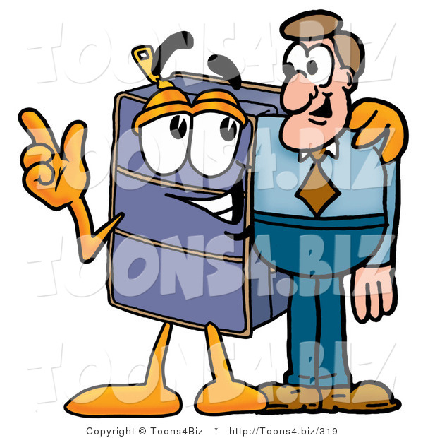 Illustration of a Cartoon Suitcase Mascot Talking to a Business Man