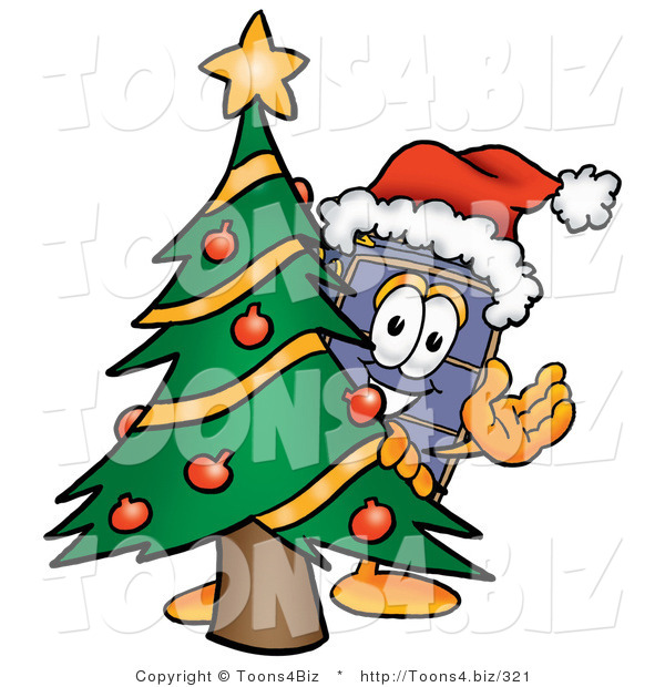 Illustration of a Cartoon Suitcase Mascot Waving and Standing by a Decorated Christmas Tree