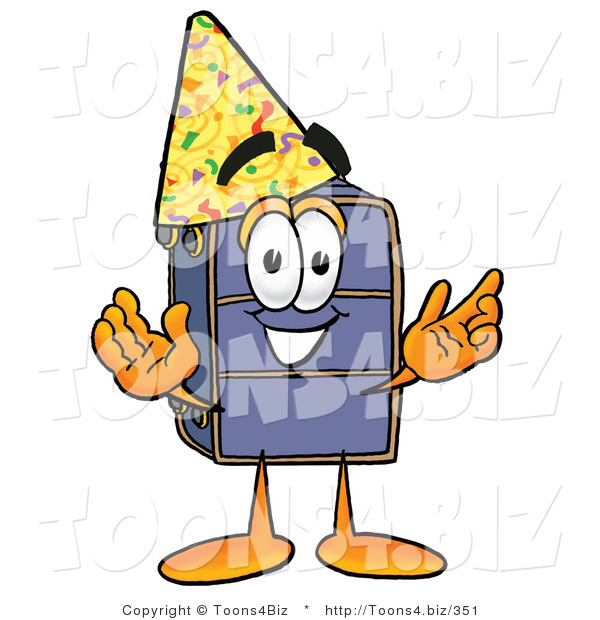 Illustration of a Cartoon Suitcase Mascot Wearing a Birthday Party Hat