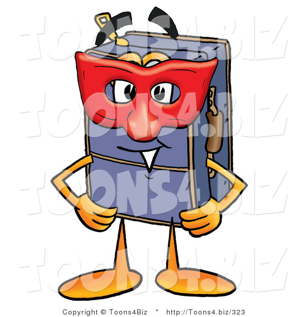 Illustration of a Cartoon Suitcase Mascot Wearing a Red Mask over His Face