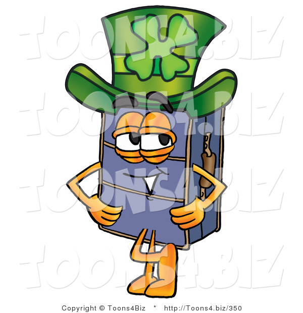 Illustration of a Cartoon Suitcase Mascot Wearing a Saint Patricks Day Hat with a Clover on It
