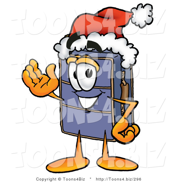 Illustration of a Cartoon Suitcase Mascot Wearing a Santa Hat and Waving
