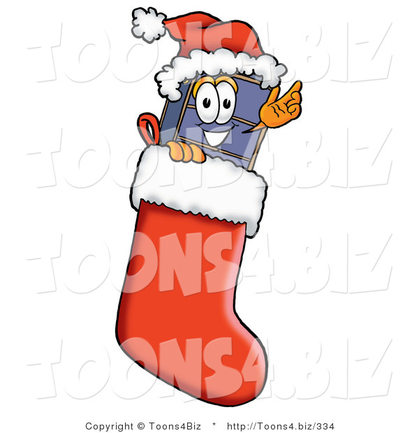 Illustration of a Cartoon Suitcase Mascot Wearing a Santa Hat Inside a Red Christmas Stocking