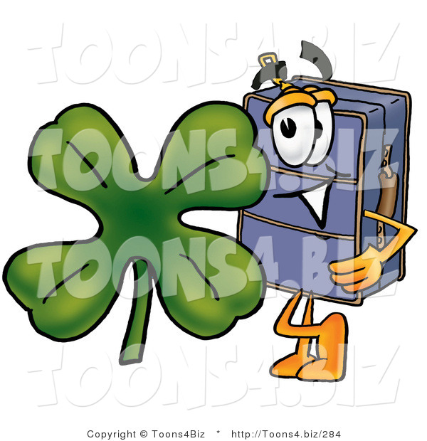 Illustration of a Cartoon Suitcase Mascot with a Green Four Leaf Clover on St Paddy's or St Patricks Day