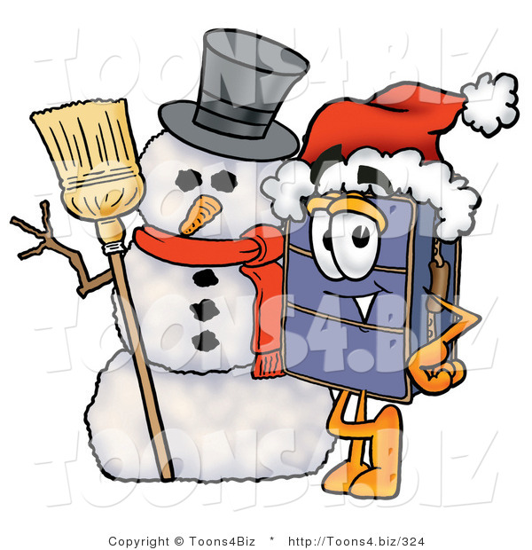 Illustration of a Cartoon Suitcase Mascot with a Snowman on Christmas