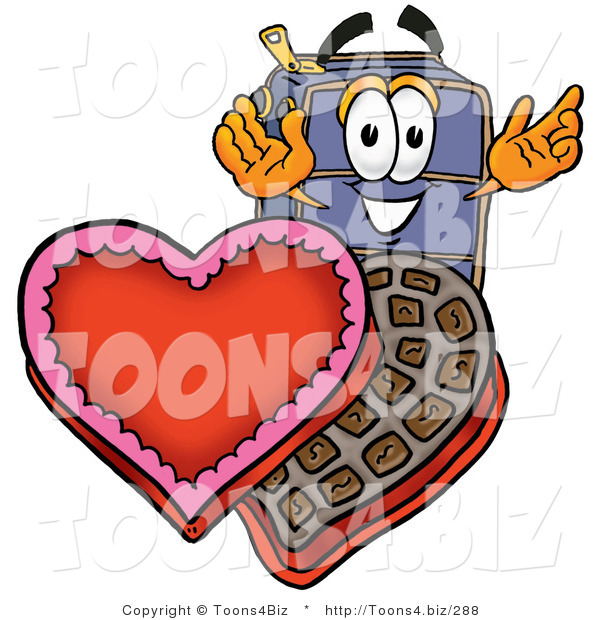 Illustration of a Cartoon Suitcase Mascot with an Open Box of Valentines Day Chocolate Candies