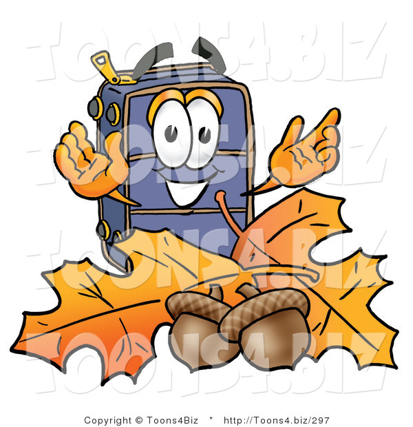 Illustration of a Cartoon Suitcase Mascot with Autumn Leaves and Acorns in the Fall