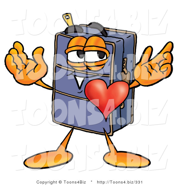 Illustration of a Cartoon Suitcase Mascot with His Heart Beating out of His Chest