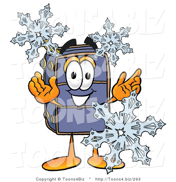 Illustration of a Cartoon Suitcase Mascot with Three Snowflakes in Winter