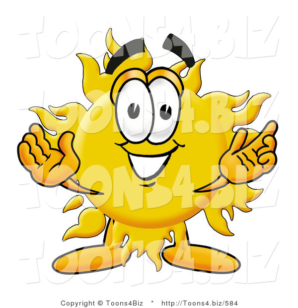 Illustration of a Cartoon Sun Mascot with Welcoming Open Arms
