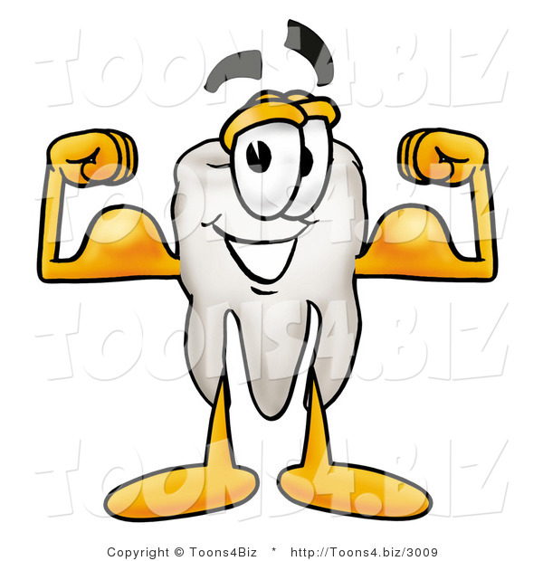 Illustration of a Cartoon Tooth Mascot Flexing His Arm Muscles