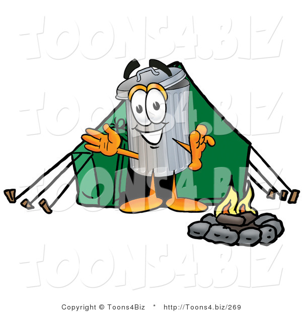 Illustration of a Cartoon Trash Can Mascot Camping with a Tent and Fire