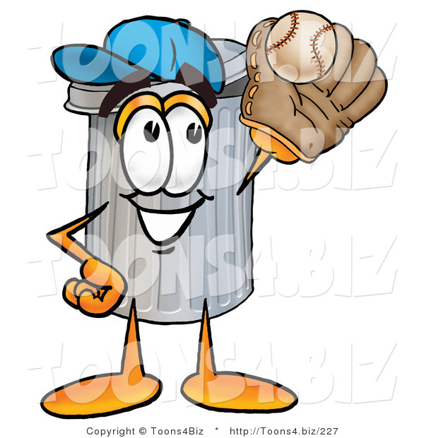 Illustration of a Cartoon Trash Can Mascot Catching a Baseball with a Glove