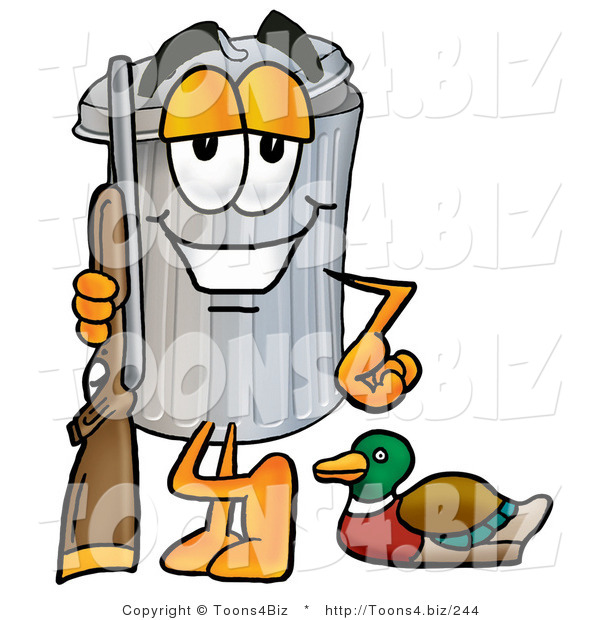 Illustration of a Cartoon Trash Can Mascot Duck Hunting, Standing with a Rifle and Duck