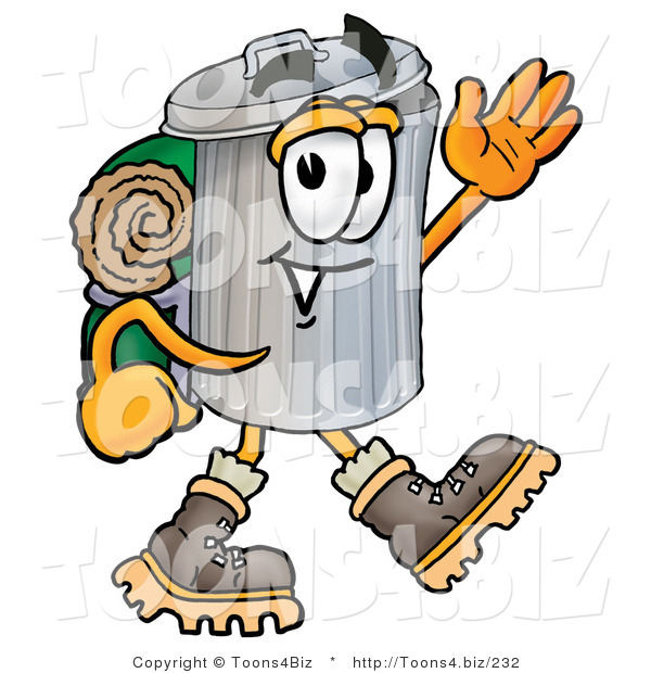 Illustration of a Cartoon Trash Can Mascot Hiking and Carrying a Backpack