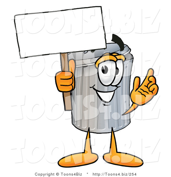Illustration of a Cartoon Trash Can Mascot Holding a Blank Sign