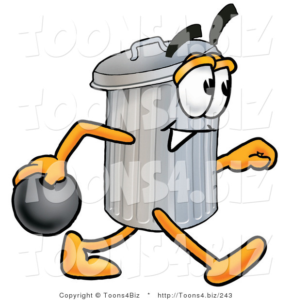 Illustration of a Cartoon Trash Can Mascot Holding a Bowling Ball