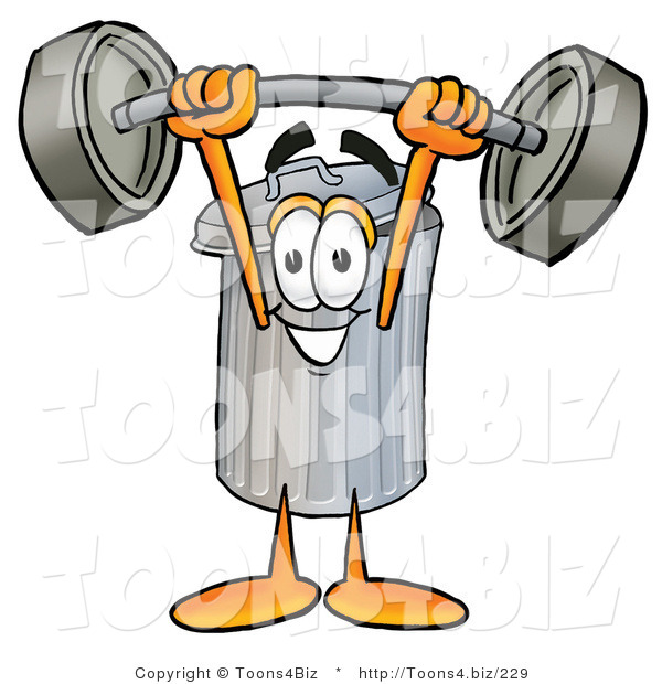 Illustration of a Cartoon Trash Can Mascot Holding a Heavy Barbell Above His Head