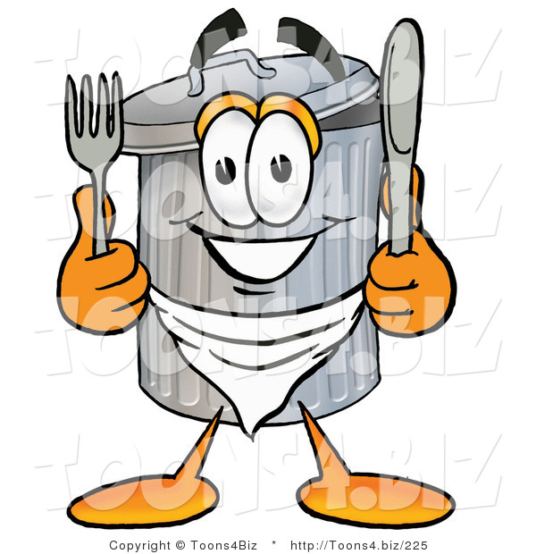 Illustration of a Cartoon Trash Can Mascot Holding a Knife and Fork