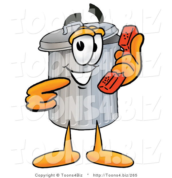 Illustration of a Cartoon Trash Can Mascot Holding a Telephone