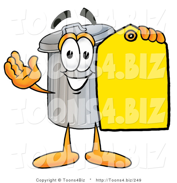 Illustration of a Cartoon Trash Can Mascot Holding a Yellow Sales Price Tag