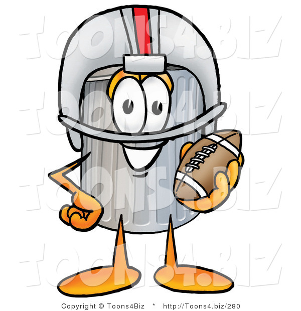 Illustration of a Cartoon Trash Can Mascot in a Helmet, Holding a Football