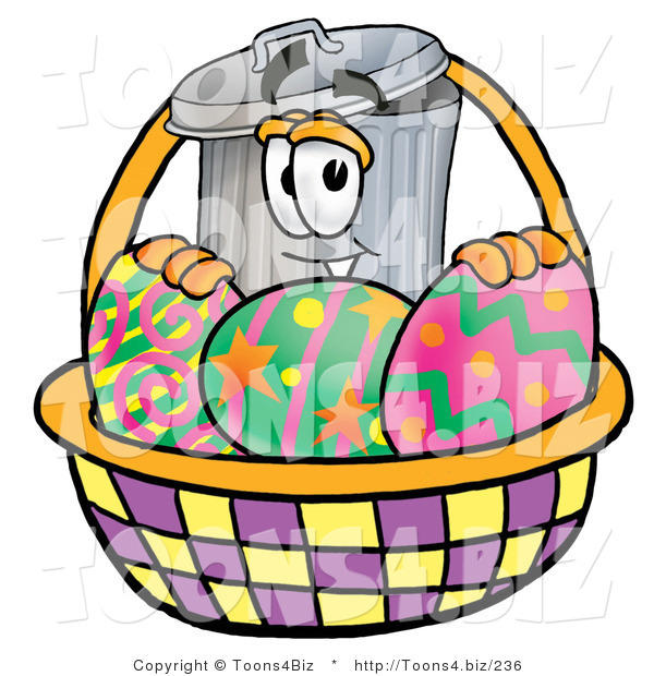 Illustration of a Cartoon Trash Can Mascot in an Easter Basket Full of Decorated Easter Eggs