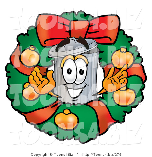 Illustration of a Cartoon Trash Can Mascot in the Center of a Christmas Wreath