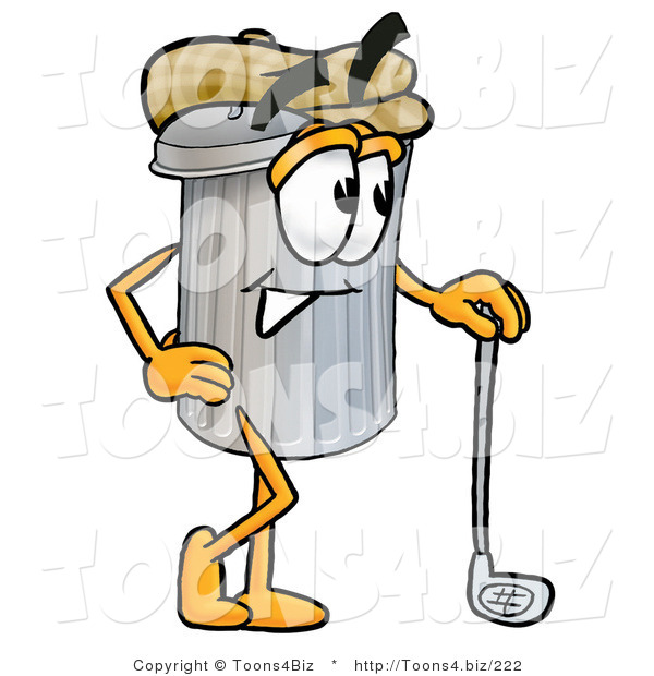 Illustration of a Cartoon Trash Can Mascot Leaning on a Golf Club While Golfing