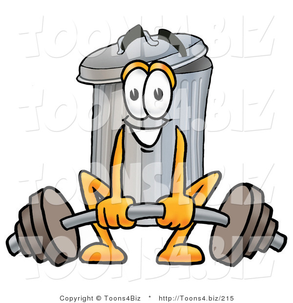 Illustration of a Cartoon Trash Can Mascot Lifting a Heavy Barbell