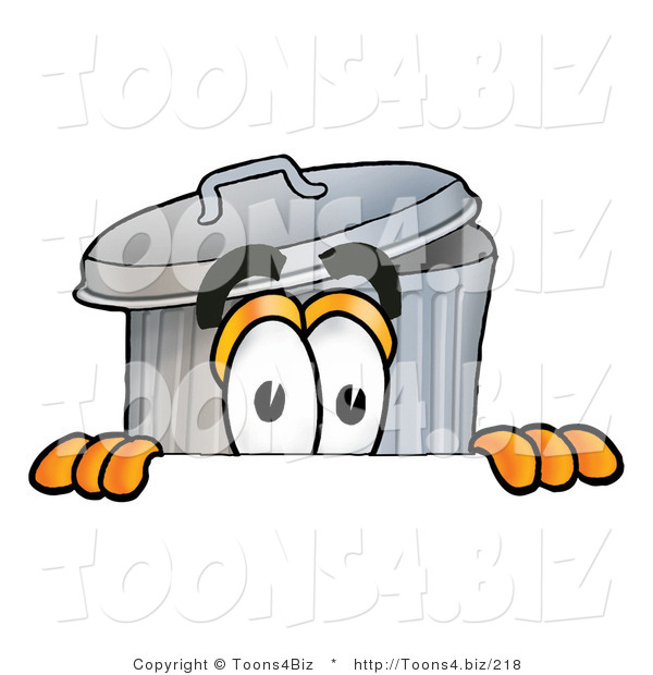 Illustration of a Cartoon Trash Can Mascot Peeking over a Surface