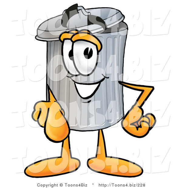 Illustration of a Cartoon Trash Can Mascot Pointing at the Viewer