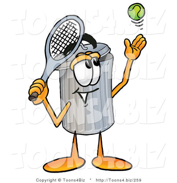 Illustration of a Cartoon Trash Can Mascot Preparing to Hit a Tennis Ball