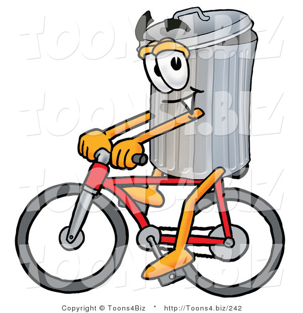 Illustration of a Cartoon Trash Can Mascot Riding a Bicycle