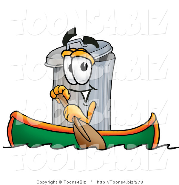 Illustration of a Cartoon Trash Can Mascot Rowing a Boat