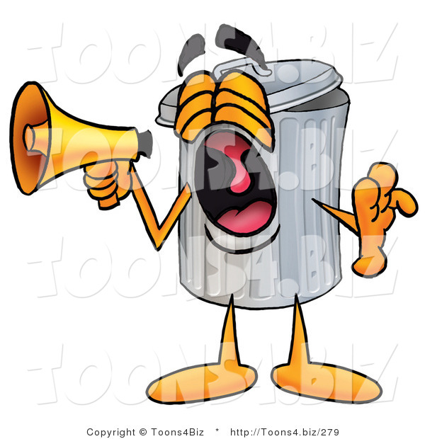 Illustration of a Cartoon Trash Can Mascot Screaming into a Megaphone