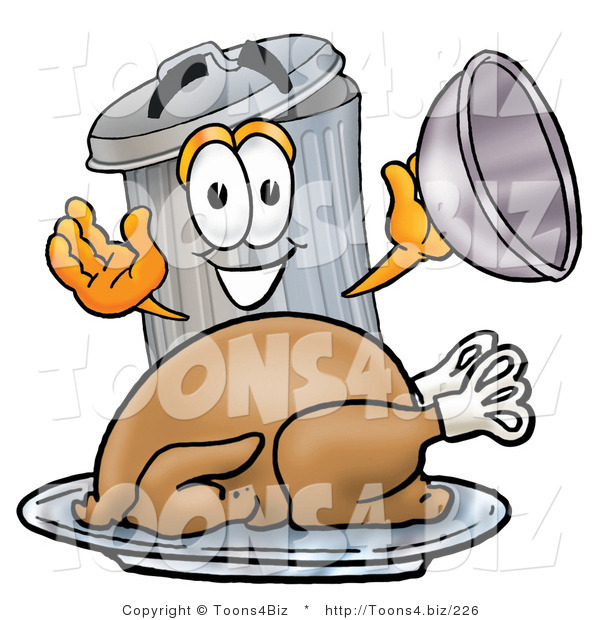 Illustration of a Cartoon Trash Can Mascot Serving a Thanksgiving Turkey on a Platter