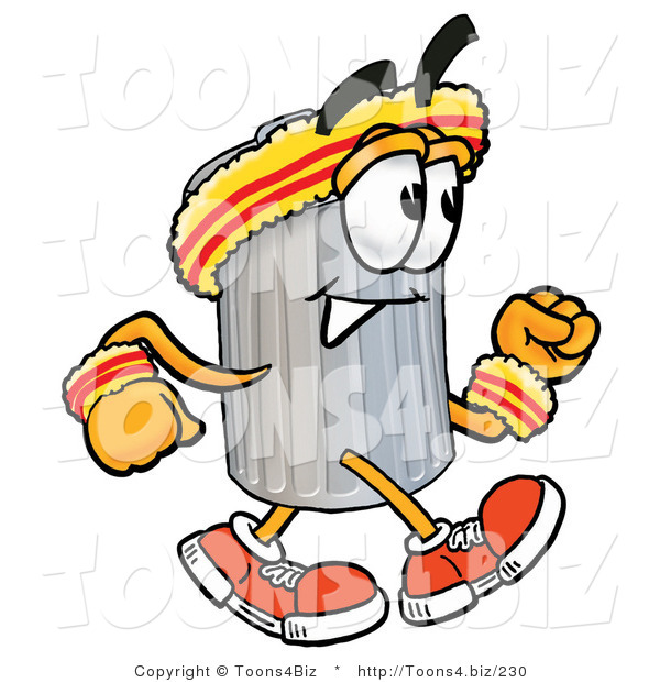 Illustration of a Cartoon Trash Can Mascot Speed Walking or Jogging