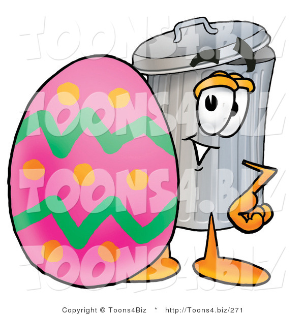 Illustration of a Cartoon Trash Can Mascot Standing Beside an Easter Egg