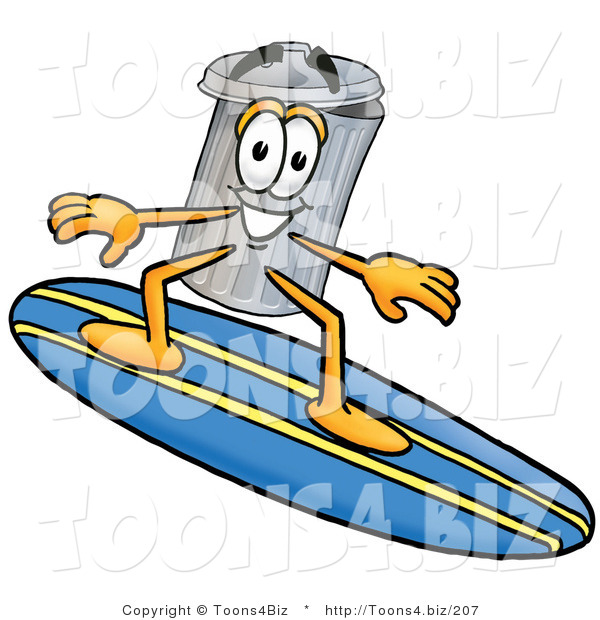 Illustration of a Cartoon Trash Can Mascot Surfing on a Blue and Yellow Surfboard