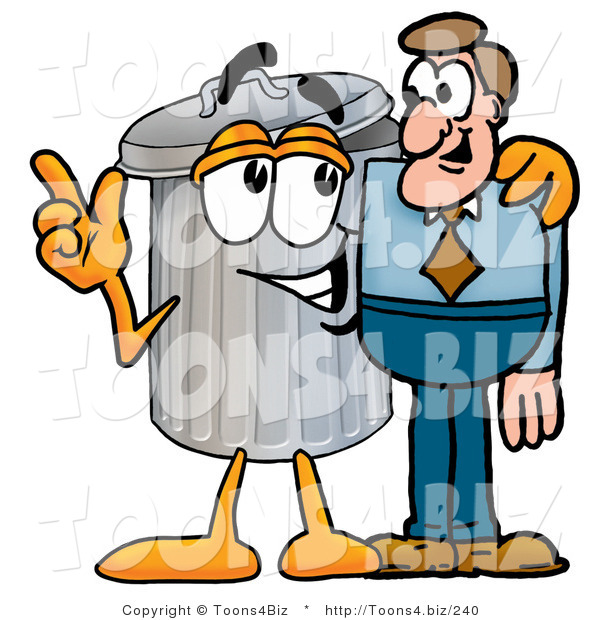 Illustration of a Cartoon Trash Can Mascot Talking to a Business Man