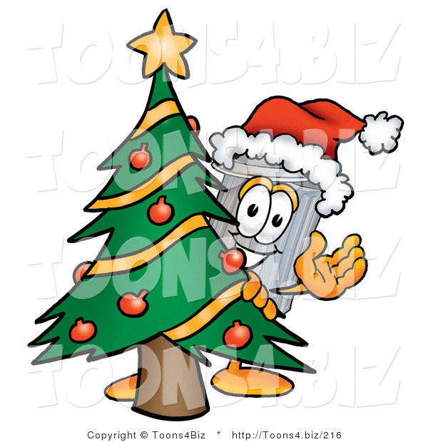 Illustration of a Cartoon Trash Can Mascot Waving and Standing by a Decorated Christmas Tree