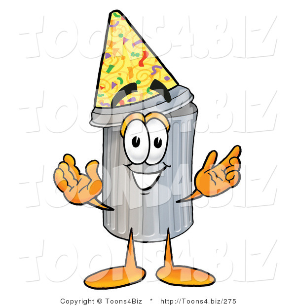 Illustration of a Cartoon Trash Can Mascot Wearing a Birthday Party Hat