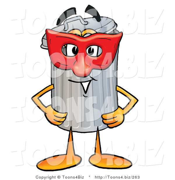 Illustration of a Cartoon Trash Can Mascot Wearing a Red Mask over His Face