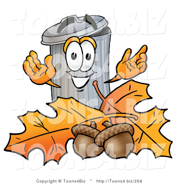 Illustration of a Cartoon Trash Can Mascot with Autumn Leaves and Acorns in the Fall
