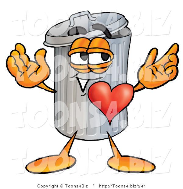 Illustration of a Cartoon Trash Can Mascot with His Heart Beating out of His Chest