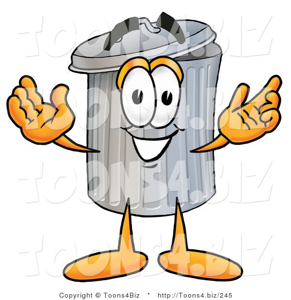 Illustration of a Cartoon Trash Can Mascot with Welcoming Open Arms