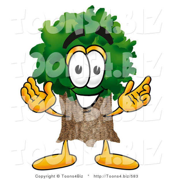 Illustration of a Cartoon Tree Mascot with Welcoming Open Arms